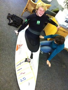 Chris getting his ribs tickled by Helen while they cut 'n' shut his new Ti-Deck at Nookie HQ.